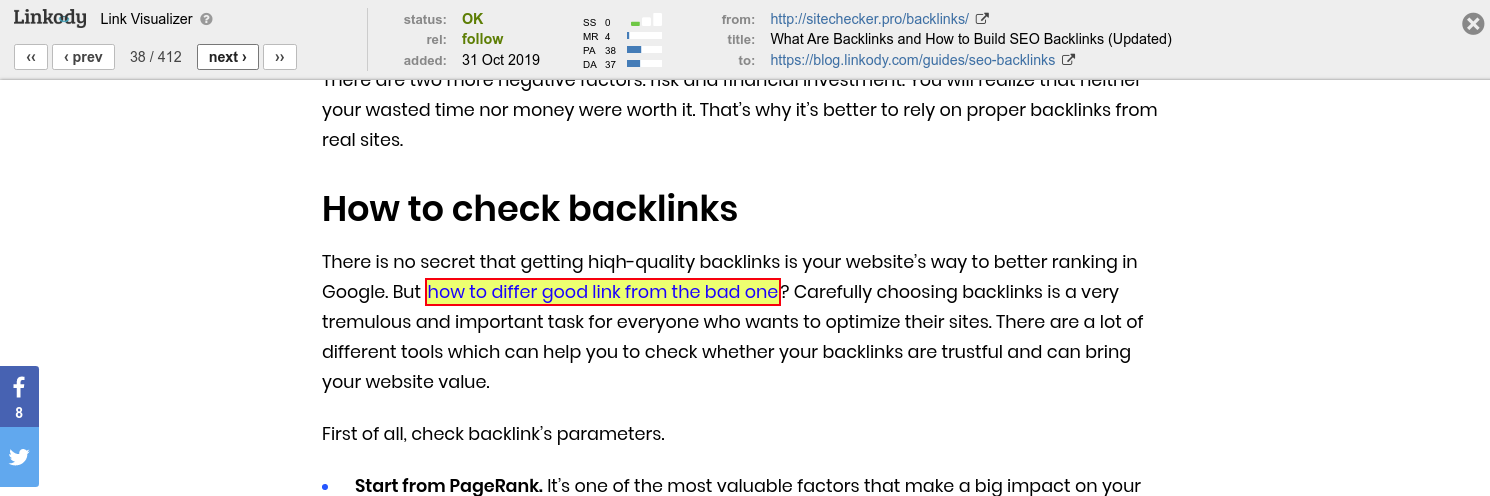 quickly assess links value
